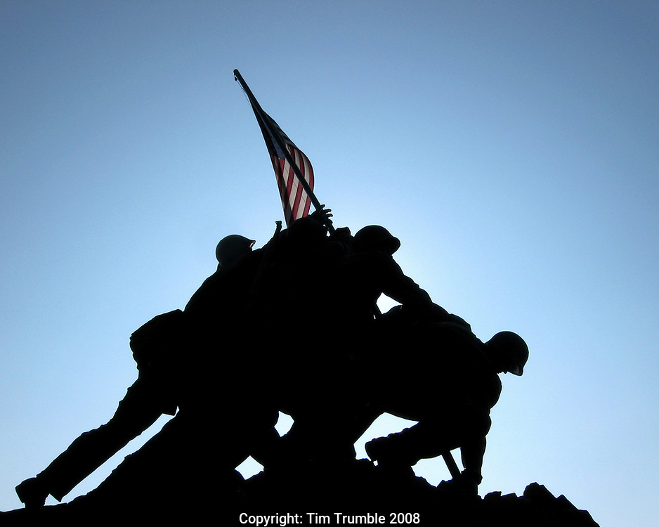 US Marine Corps war Memorial silhouetted