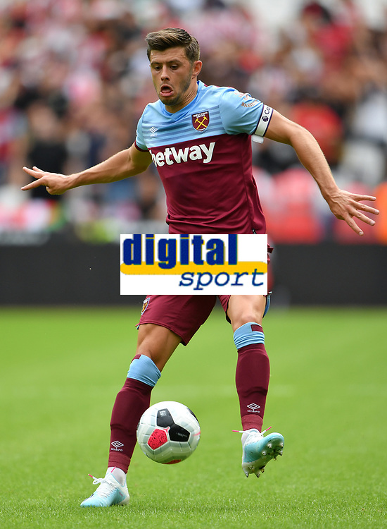 Football - 2019 Betway Cup (pre-season friendly) - West Ham vs. Athletic Bilbao<br /> <br /> West Ham United's Aaron Cresswell in action during this afternoon's game, at The London Stadium.<br /> <br /> COLORSPORT/ASHLEY WESTERN