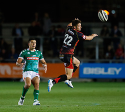Dragons' Josh Lewis charges the kick from Benetton Treviso's Tommaso Allan<br /> <br /> Photographer Simon King/Replay Images<br /> <br /> 1 Round 1 - Dragons v Benetton Treviso - Saturday 1st September 2018 - Rodney Parade - Newport<br /> <br /> World Copyright © Replay Images . All rights reserved. info@replayimages.co.uk - http://replayimages.co.uk