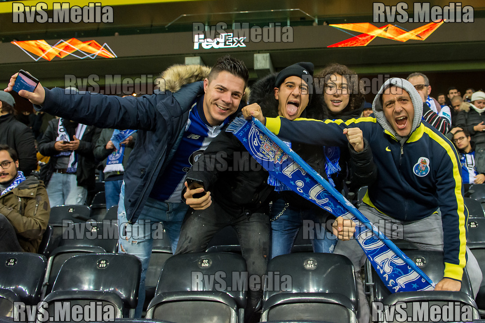 BERN, SWITZERLAND - NOVEMBER 28: FC Porto fans cheer before the UEFA Europa League group G match between BSC Young Boys and FC Porto at Stade de Suisse, Wankdorf on November 28, 2019 in Bern, Switzerland. (Photo by Basile Barbey/RvS.Media)
