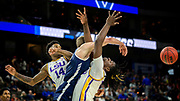 LSU forward Naz Reid, right, guard Marlon Taylor (14) battle for a rebound against Yale forward Blake Reynolds, center, during the first half of the first round men's college basketball game in the NCAA Tournament, in Jacksonville, Fla. Thursday, March 21, 2019. (AP Photo/Stephen B. Morton)