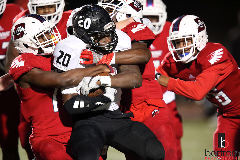 Bishop Lynch running back Jermaine Mask is stopped during the TAPPS Division I state championship game on Saturday, Dec. 3, 2016 at Panther Stadium in Hewitt, Texas. Bishop Lynch High School won 21-17. (Photo by Kevin Bartram)