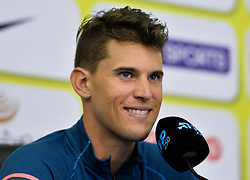 Dominic Thiem of Austria speaks during a press conference ahead of the ATP Qatar Open tennis tournament 2019 at the Khalifa International Tennis Compl?ex in Doha, capital of Qatar, on December 31, 2018. Qatar Open run from December 31,2018 to January 05, 2019  (Credit Image: © Yangyuanyong/Xinhua via ZUMA Wire)