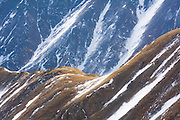 Snow filled gullies of Kelso Mountain near Loveland Pass, Rocky Mountains, Colorado.