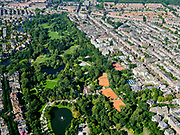 Nederland, Noord-Holland, Amsterdam, 02-09-2020; overzicht Vondelpark met tennisvelden (Kattenlaan en Festina). Oud-West met de Overtoom (rechts).<br /> Overview Vondelpark with tennis courts (Kattenlaan and Festina). Oud-West with the Overtoom.<br /> <br /> luchtfoto (toeslag op standard tarieven);<br /> aerial photo (additional fee required);<br /> copyright foto/photo Siebe Swart