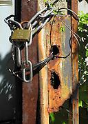 Berlin-Grünau. GERMANY.  Pad Lock and Chain, security, on Building plot on Regattastrasse,  Frühregatta Saturday 30/04/2011 [Mandatory Credit; Peter Spurrier/Intersport-images]