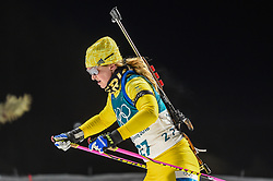 February 12, 2018 - Pyeongchang, Gangwon, South Korea - Mona Brorsson of Sweden  competing at Women's 10km Pursuit, Biathlon, at olympics at Alpensia biathlon stadium, Pyeongchang, South Korea. on February 12, 2018. (Credit Image: © Ulrik Pedersen/NurPhoto via ZUMA Press)