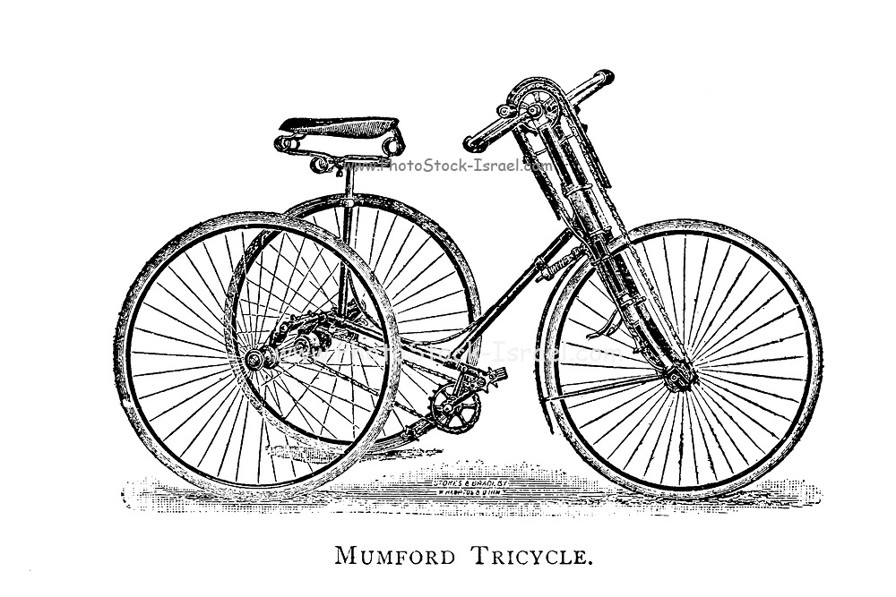 Mumford tricycle hand powered as well as leg powered From Wheels and Wheeling; An indispensable handbook for cyclists, with over two hundred illustrations by Porter, Luther Henry. Published in Boston in 1892