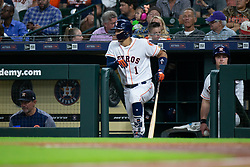 May 22, 2018 - Houston, TX, U.S. - HOUSTON, TX - MAY 22: Houston Astros shortstop Carlos Correa (1) looks on from the dugout in the third inning during an MLB baseball game between the Houston Astros and the San Francisco Giants on May 22, 2018 at Minute Maid Park in Houston, Texas. (Photo by Juan DeLeon/Icon Sportswire) (Credit Image: © Juan Deleon/Icon SMI via ZUMA Press)