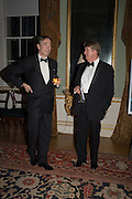 LORD CHOLMONDELEY; ; BRIAN ALLEN, Professor Mikhail Piotrovsky Director of the State Hermitage Museum, St. Petersburg and <br /> Inna Bazhenova Founder of In Artibus and the new owner of the Art Newspaper worldwide<br /> host THE HERMITAGE FOUNDATION GALA BANQUET<br /> GALA DINNER <br /> Spencer House, St. James's Place, London<br /> 15 April 2015