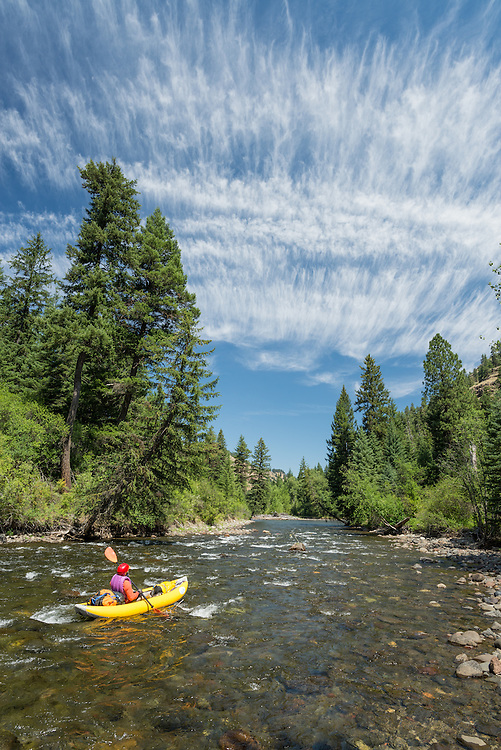 Paddling down the Minam River in Oregon's Wallowa Mountains.
