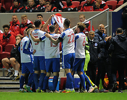 Brighton & Hove Albion players celebrate their opening goal by raising the shirt of team mate Anthony Knockaert - Mandatory by-line: Paul Knight/JMP - 05/11/2016 - FOOTBALL - Ashton Gate - Bristol, England - Bristol City v Brighton and Hove Albion - Sky Bet Championship