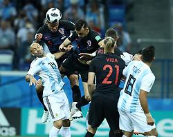 June 21, 2018 - Nizhny Novogorod, Russia - Group D Argentina v Croazia - FIFA World Cup Russia 2018.Dejan Lovren (Croatia) and Javier Mascherano (Argentina)  at Nizhny Novgorod Stadium, Russia on June 21, 2018. (Credit Image: © Matteo Ciambelli/NurPhoto via ZUMA Press)
