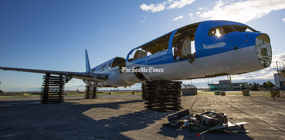 The shell of the 757 is resting on crates at Boeing's facility in Moses Lake. <br /> <br /> Mike Siegel / The Seattle Times