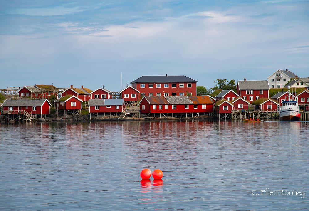 Rorbu, traditional fishermen's cabins in Reine on Reine Fjord,  Moskenesoya, Lofoten Islands, Norway