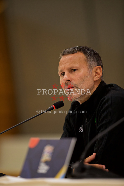 AARHUS, DENMARK - Sunday, September 9, 2018: Wales' manager Ryan Giggs during a post-match press conference after the UEFA Nations League Group Stage League B Group 4 match between Denmark and Wales at the Aarhus Stadion. Wales lost 2-0.(Pic by David Rawcliffe/Propaganda)