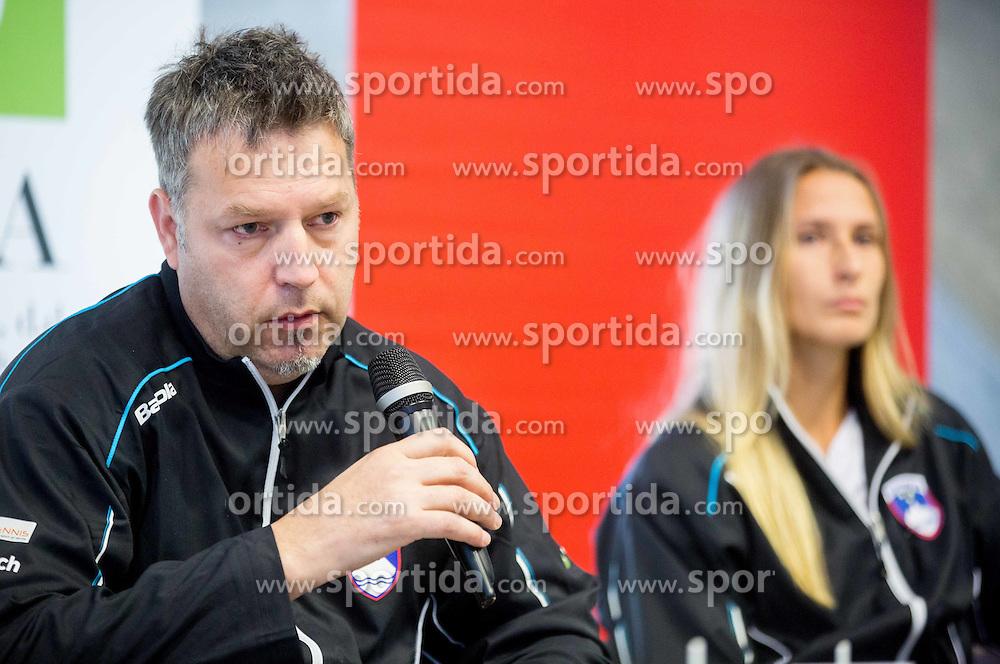 Zoran Kofol and Polona Hercog during press conference of Slovenian women Tennis team before Fed Cup tournament in Tallinn, Estonia, on January 28, 2015 in Kristalna palaca, Ljubljana, Slovenia. Photo by Vid Ponikvar / Sportida