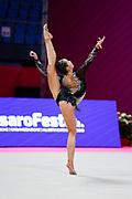 Ikromova Takhmina during the qualifications in Pesaro at the Vitrifrigo Arena at the Pesaro World Championships on 28/29 May 2021. Kim is an Uzbek rhythmic gymnastics born in 2004.