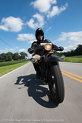 Kirk MacGillivray riding his 1928 Indian Scout during Stage 4 of the Motorcycle Cannonball Cross-Country Endurance Run, which on this day ran from Chatanooga to Clarksville, TN., USA. Monday, September 8, 2014.  Photography ©2014 Michael Lichter.