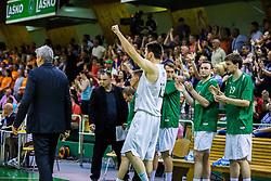 Players of KK Zlatorog celebrating during basketball match between KK Zlatorog and KK Helios Suns in 1st match of Nova KBM Slovenian Champions League Final 2015/16 on May 29, 2016  in Dvorana Zlatorog, Lasko, Slovenia.  Photo by Ziga Zupan / Sportida