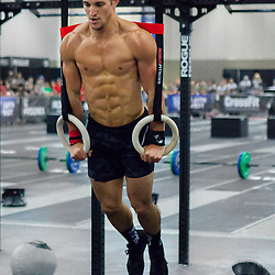 Chris Gartrell doing ring dips during the 50s at the CrossFit Southwest Regionals 2014
