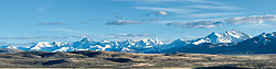 Lost River Range Panorama. Sweet evening light lit up the snowy peaks.  As seen from the Little Lost River Highway west of Howe Idaho.  <br /> <br /> This panorama can be printed 8 foot wide at 150dpi.