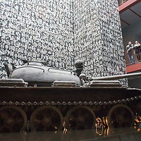 A Russian tank is seen in Terror House Museum as part of a free exhibition during Hungary's national holiday commemorating the revolution of 1956 in Budapest, Hungary on October 23, 2014. ATTILA VOLGYI