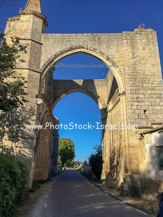 ruins of San Antón convent.Pilgrims. Burgos province.Spain. Camino de Santiago