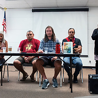 Writers and contributors for the book Standing With Standing Rock: Voices from the #NoDAPL come together for the national launch of the book at the Octavia Fellin Public Library Saturday afternoon. From left to right: Jaskiran Dhillon, Lewis Grassrope, Will Parrish, Nick Estes and Octavia Fellin Public Library Director Tammi Moe.
