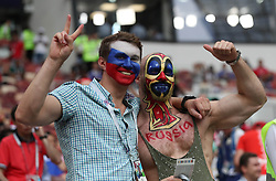 MOSCOW, July 15, 2018  Fans cheer prior to the 2018 FIFA World Cup final match between France and Croatia in Moscow, Russia, July 15, 2018. (Credit Image: © Cao Can/Xinhua via ZUMA Wire)