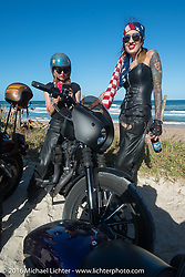 Leticia Cline, Kissa Von Addams and the Iron Lillies at the High Tides restaurant in Flagler Beach while on the Hot Leathers ride during the Daytona Bike Week 75th Anniversary event. FL, USA. Tuesday March 8, 2016.  Photography ©2016 Michael Lichter.
