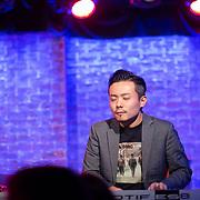 Takeshi Ohbayashi playing keyboard with Jose James at the Iridium Ballroom
