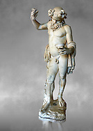 """"""" Silenus Drunk """" - A 2nd century AD Roman sculpture made from marble from Paros. Silenus was described as the oldest, wisest and most drunken of the followers of Dionysus, the god of wine. When intoxicated, Silenus was said to possess special knowledge and the power of prophecy. From the Ancient Royal Collection of France inv MR 343 (or MA 291) previously held at Versailles. Louvre Museum Paris. .<br /> <br /> If you prefer to buy from our ALAMY STOCK LIBRARY page at https://www.alamy.com/portfolio/paul-williams-funkystock/greco-roman-sculptures.html- Type -    Louvre    - into LOWER SEARCH WITHIN GALLERY box - Refine search by adding a subject, place, background colour,etc.<br /> <br /> Visit our CLASSICAL WORLD HISTORIC SITES PHOTO COLLECTIONS for more photos to download or buy as wall art prints https://funkystock.photoshelter.com/gallery-collection/The-Romans-Art-Artefacts-Antiquities-Historic-Sites-Pictures-Images/C0000r2uLJJo9_s0c"""