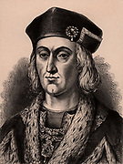 Henry VII (1457-1509) first Tudor king of England from 1485.  Defeated Richard III at Bosworth Field on 22 August 1485, the battle which ended the Wars of the Roses. Wood engraving c1900.