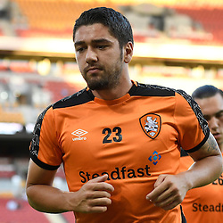BRISBANE, AUSTRALIA - JANUARY 28: Dimitri Petratos of the Roar warms up during the round 17 Hyundai A-League match between the Brisbane Roar and Western Sydney Wanderers at Suncorp Stadium on January 28, 2017 in Brisbane, Australia. (Photo by Patrick Kearney/Brisbane Roar)
