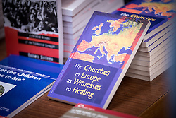 "18 September 2017, Geneva, Switzerland: A ""marketplace"" at the Ecumenical Centre in Geneva presents resources and activities of the World Council of Churches, at it hosts a meeting of member churches' Ecumenical Officers."