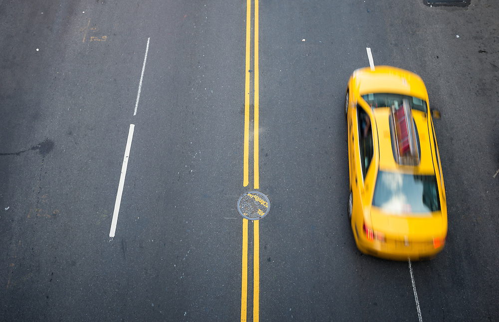 Taxi and street scene in Chelsea, New York