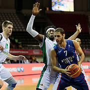 Anadolu Efes's Stratos Perperoglou (R) and Darussafaka Dogus's Taylor Darnell Brown (C) during their Royal Hali Gaziantep Turkey Cup Semifinals match Anadolu Efes between Darussafaka Dogus at Karatas Sahinbey Arena in Gaziantep Turkey on Friday 20 February 2015. Photo by Aykut AKICI/TURKPIX