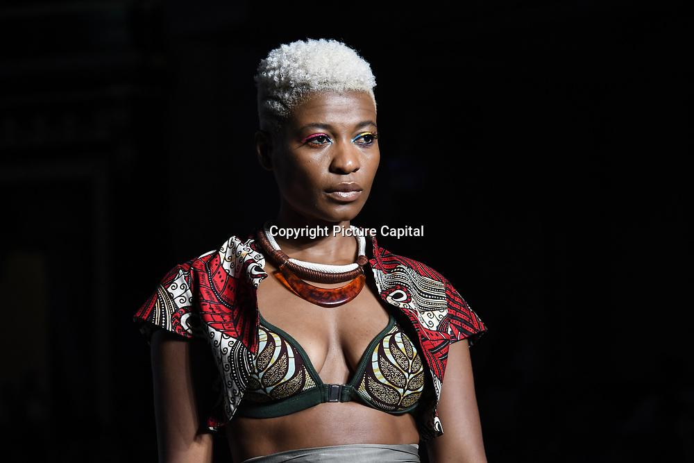 Designer Baoba Brasil showcases its latest collection at the Africa Fashion Week London (AFWL) at Freemasons' Hall on 11 August 2018, London, UK.