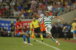 August 23, 2017 - Bucharest, Romania - Fabio Coentrao, Sporting, vs Filipe Teixeira, Steaua,  during the UEFA Champions League play-offs 2nd leg football match between FC Steaua Bucharest and Sporting Lisbon at the National Arena Stadium, in Bucharest, Romania on August 23, 2017. (Credit Image: © Alex Nicodim/NurPhoto via ZUMA Press)