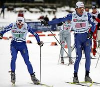 Langrenn , NM på ski  Nordiske grener 30 januar 2005 , Birkebeineren Skistadion  , 3 x 10 km  stafett menn<br /> <br /> Brynjar Skjærli , Lillehammer Skiklubb veksler med Espen Harald Bjerke.