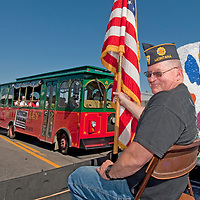 A Veteran prepares to ride in the Butte 4th of July parade.