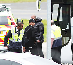 Gabriel Jesus and other members of the Manchester City team are seen at Manchester Airport as they travel for their Champions League fixture.
