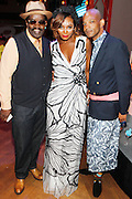 May 19, 2016-Brooklyn, NY: United States: (L-R) Art Historian/Media Personality Fred Brathwaite aka Fab 5 Freddy, Media Personality Tai Beauchamp and Novelist Brian Keith Jackson attend the 2nd Annual (Museum of Contemporary African Diasporic Art (MoCADA) Masquerade Ball held at the Brooklyn Academy of Music on May 19, 2016 in Brooklyn, New York. (Terrence Jennings/terrencejennngs.com)