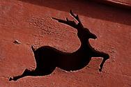 Deer carving in the Taoist Tian Feng Ling Temple, Beiyue Hengshan Mountain, Datong, Hunyuan County, Shanxi Province, China
