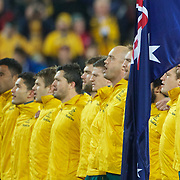 Stand in captain Will Genia (right) leads the teams singing of the national anthem during the Australia V USA, Pool C match during the IRB Rugby World Cup tournament. Wellington Stadium, Wellington, New Zealand, 23rd September 2011. Photo Tim Clayton...