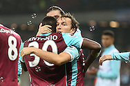 Mark Noble, West Ham United captain celebrates scoring his sides 1st goal from a penalty with Michail Antonio of West Ham United. Premier league match, West Ham Utd v Hull city at the London Stadium, Queen Elizabeth Olympic Park in London on Saturday 17th December 2016.<br /> pic by John Patrick Fletcher, Andrew Orchard sports photography.