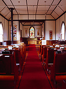 Saint Saviour's Anglican Church interior, built by William Carpenter Bompas, first Bishop of the Yukon in 1904 at Caribou Crossing and later renamed Carcross, Yukon Territory, Canada.