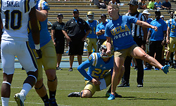 April 29, 2017 - Los Angeles, California, U.S. - UCLA Bruins soccer coach Amanda Cromwell kicks a two point conversion during the UCLA football Spring Showcase on Saturday, April 29, 2017 in Los Angeles. (Photo by Keith Birmingham, Pasadena Star-News/SCNG) (Credit Image: © San Gabriel Valley Tribune via ZUMA Wire)