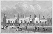 Brewer's Alms Houses, Mile End, engraving from 'Metropolitan Improvements, or London in the Nineteenth Century' London, England, UK 1828 , drawn by Thomas H Shepherd